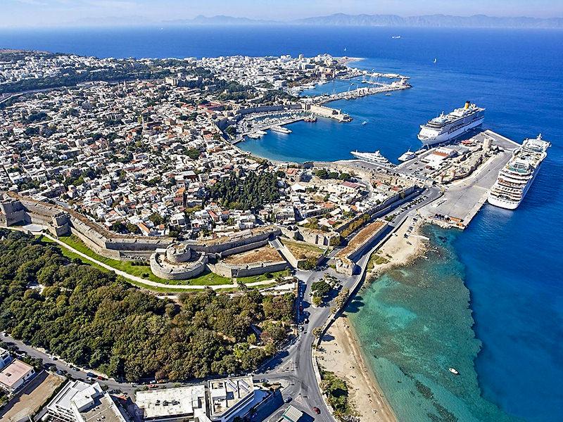 Rhodes town aerial photo